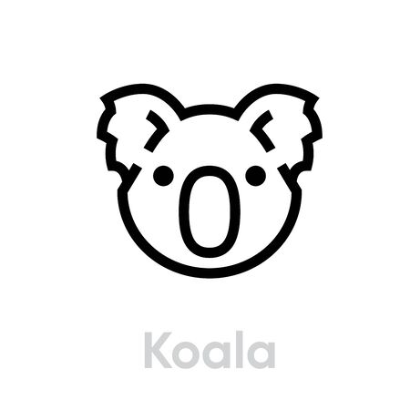 Koala Face icon. Editable line illustration on white