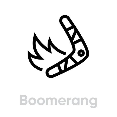 Boomerang on Fire vector icon. Editable line