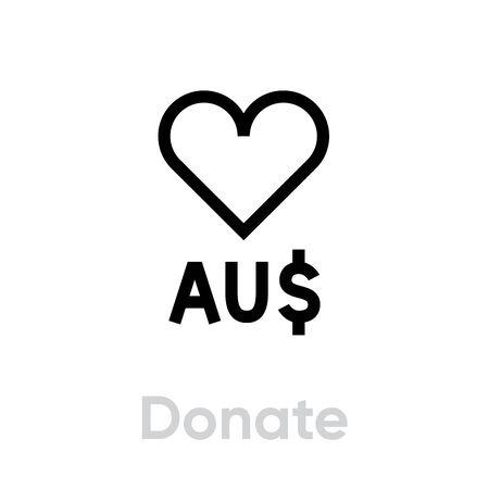 Donate Australia Dollar vector icon. Editable line