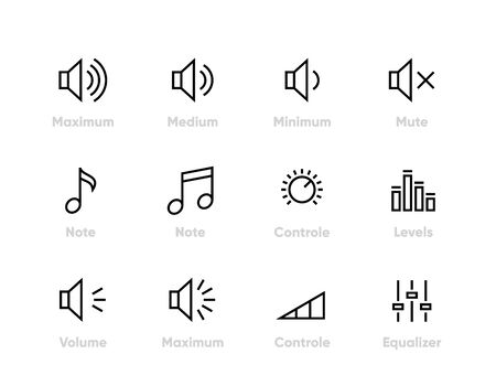 Sound, Volume, Controls Equaliser, Note, Levels Editable line icons Vectores