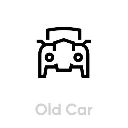 Old Retro Car icon vector editable line. Vintage transport Illustration Çizim