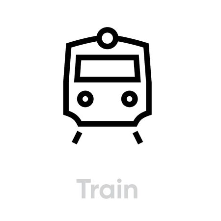 Train icon vector editable transport single line