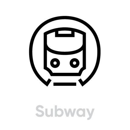 Subway icon. Metro, Mass Rapid Transit, Public Transport vector editable line symbol