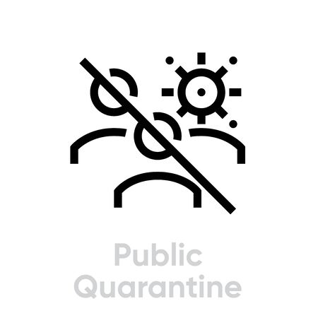 Public Quarantine icon vector editable line Group of People