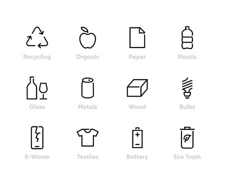 Recycling vector icons. Sorting Garbage, Reclamation, Trash Types. Editable line set