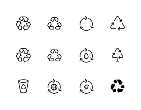Recycle symbol. Recycling vector icons editable line set Illustration