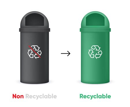 Evolution from Non Recyclable to Recycling Garbage Bin. Black and Green Cans. Isolated vector illustration Vector Illustration