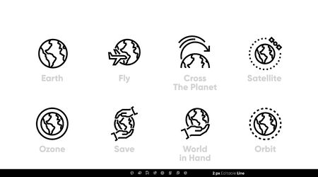 Earth icon, Fly, Planet, Satellite, World. Editable line set isolated vector illustration Illustration