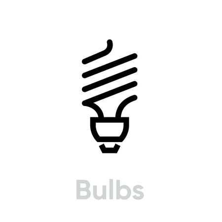 Recycling light bulb icon. Stylized eco-friendly economical lamp. Editable line vector. Single pictogram isolated on a white background. Simple symbol for website, mobile application. Иллюстрация