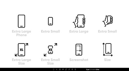 Phone, different sizes and specifications. Large, small and extra large sizes and screenshot icons, Editable line vector set on white backgroind.