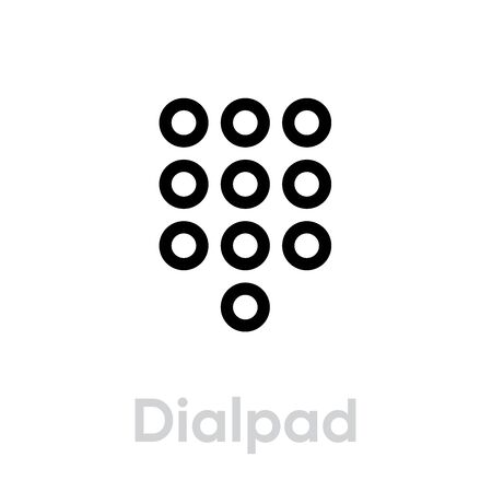 Dialpad call phone icon. Editable line vector. Round buttons on a keyboard single pictogram.