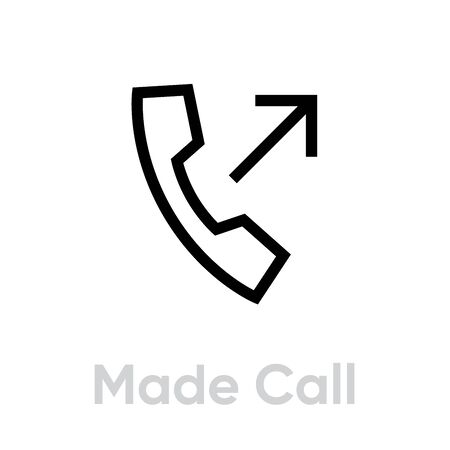 Made call phone icon. Editable line vector. Vintage telephone handset sign outgoing arrow single pictogram. Vector Illustration
