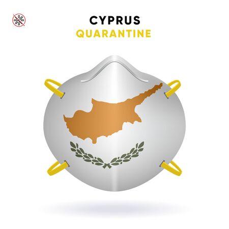 Cyprus Quarantine Mask with Flag. Medical Precaution Concept. Vector illustration Coronavirus isolated on white background. Template Danger of Coronavirus for infographics. 向量圖像