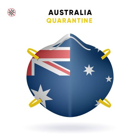 Australia Quarantine Mask with Flag. Medical Precaution Concept. Vector illustration Coronavirus isolated on white background. Template Danger of Coronavirus for infographics. Illustration