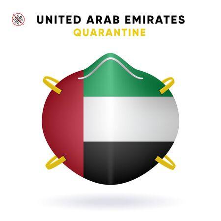 United Arab Emirates Quarantine Mask with Flag. Medical Precaution Concept. Vector illustration Coronavirus isolated on white background. Template Danger of Coronavirus for infographics. 向量圖像