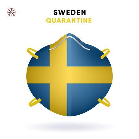 Sweden Quarantine Mask with Flag. Medical Precaution Concept. Vector illustration Coronavirus isolated on white background. Template Danger of Coronavirus for infographics.