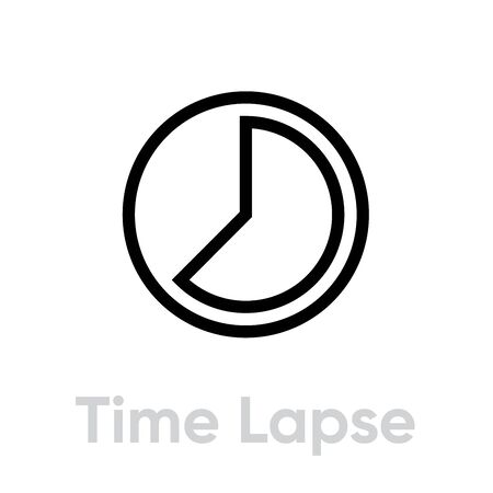 Time Lapse icon. Editable Vector Outline. Vintage. Symbol Length of Time Single Pictogram on white background Illustration