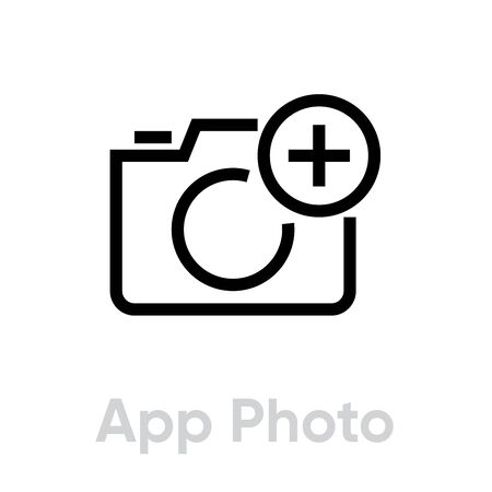 App Photo icon. Editable Vector Outline. Black outline Single Pictogram for website design and mobile apps on a white background.