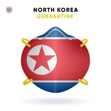 North Korea Quarantine Mask with Flag. Medical Precaution Concept. Vector illustration Coronavirus isolated on white background. Template Danger of Coronavirus for infographics.