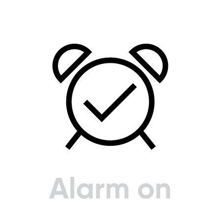 Alarm Clock icon. Editable line vector. Vintage Reminder Single Pictogram on white background