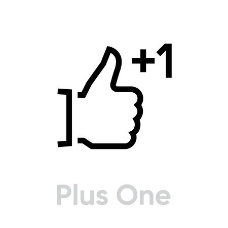 Plus one thumb up down icon. Editable line vector. Gesture palm with a raised thumb and a sign to add one. Single pictogram.