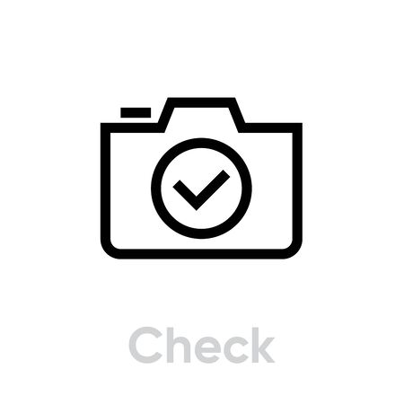 Check icon. Editable Vector Outline. Single Pictogram Linear symbol with thin outline.