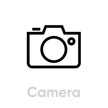 Camera icon. Editable Vector Outline. Linear Single Pictogram Photo and Video Camera isolated on white background