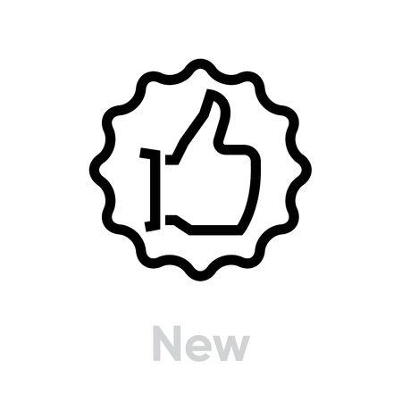 New thumb up down icon. Editable line vector. Gesture palm with a raised thumb in a wavy circle. Single pictogram. Vectores