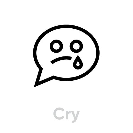 Cry message chat icon. Editable Vector Outline. Single Pictogram for website, mobile application. Illustration