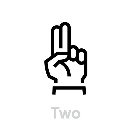 Two icon. The sign language. Editable Vector Stroke. Two fingers hand show gesture two or second. Illustration
