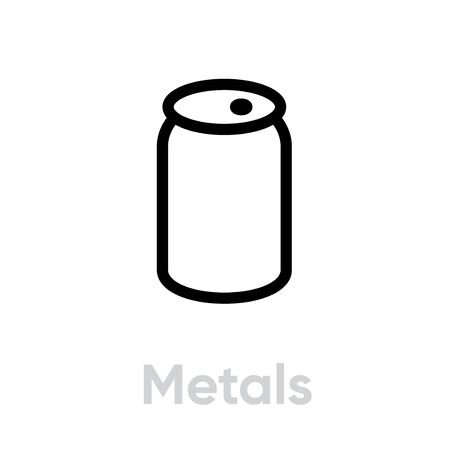 Metals recycling icon. Editable Line Vector. Simple linear symbol recycling metal for website or mobile app. Single Pictogram.