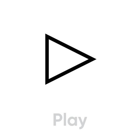 Play icon. Editable Line Vector. Symbol button play or pause in trendy flat style isolated on background. Single Pictogram.