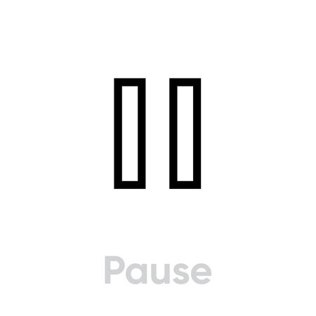 Pause icon. Editable Vector Outline. Pause track symbol flat. Perfect for multimedia player interface button and any purposes. Single Pictogram.  イラスト・ベクター素材