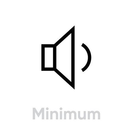 Minimum sound music icon. Editable line vector. Stylized speaker symbol with a small volume wave. Single pictogram.