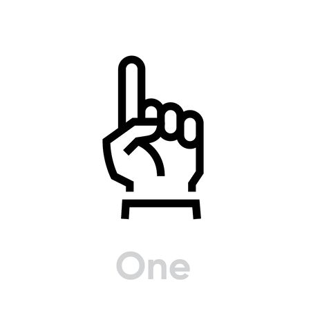 One finger hand icon. Editable Line Vector. Hand showing one finger or counting one. Sketch line flat icon of hand.
