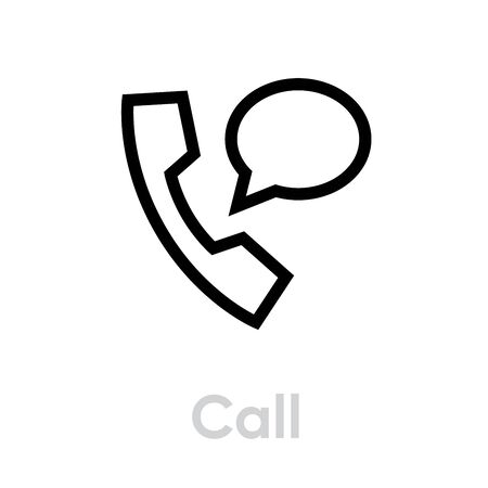 Call chat icon. Editable Vector Stroke. Single Pictogram symbol phone and message for website, mobile app. Illustration