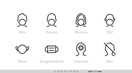 Medical Facemask icon vector set. Smog dust PM2.5, Danger Virus, Corona, Protective Using Surgical Mask for Man, Person, Women, Kid. Editable Line