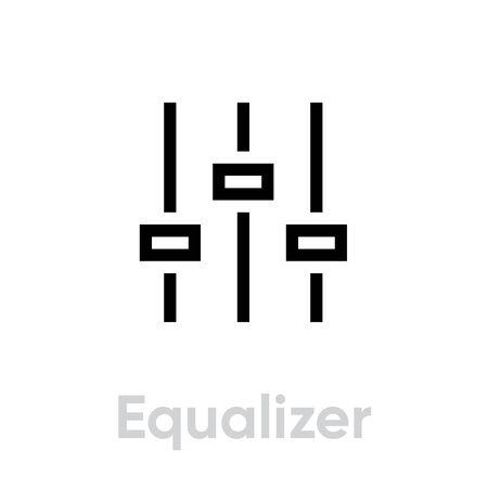 Equalizer sound music icon. Editable line vector. Linear symbol control panel volume level. Single pictogram.