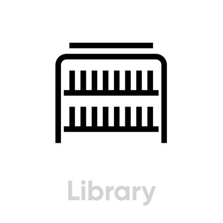 Library music player icon. Editable line vector. 向量圖像