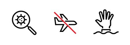 Set of Research Virus, Flight Ban and Need Help icons. Editable vector vector.