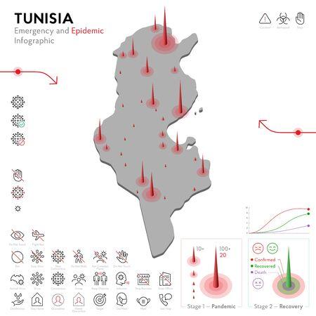 Map of Tunisia Epidemic and Quarantine Emergency Infographic Template. Editable Line icons for Pandemic Statistics. Vector illustration of Virus, Coronavirus, Epidemiology protection. Isolated Ilustração Vetorial