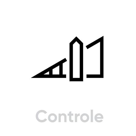 Control sound music icon. Editable line vector. Triangular symbol volume increase label in the middle. Single pictogram. 일러스트