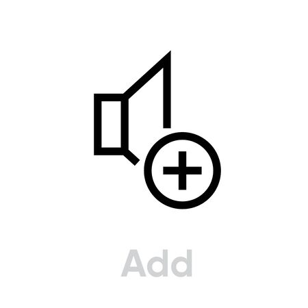 Add sound music icon. Editable line vector. Element stylized speaker and plus sign. Single pictogram.