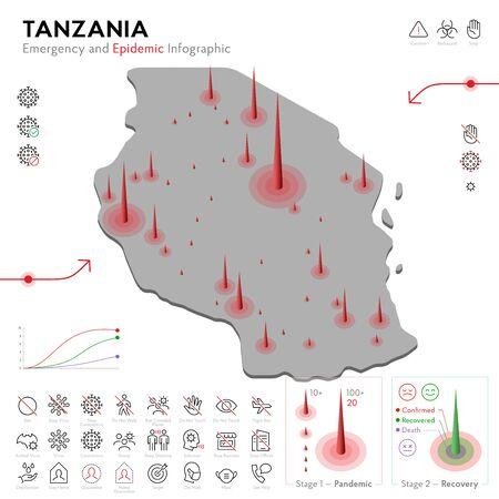 Map of Tanzania Epidemic and Quarantine Emergency Infographic Template. Editable Line icons for Pandemic Statistics. Vector illustration of Virus, Coronavirus, Epidemiology protection. Isolated  イラスト・ベクター素材