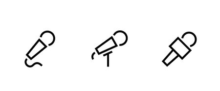Set of Microphone types icons. Editable line vector.