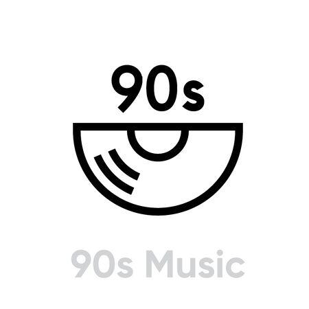 Music 90s Vinyl icon. Editable line vector. 写真素材 - 143431791