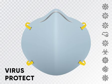 Protective Medical Face Mask vector with Line Icons. Isolated on transparent background 向量圖像