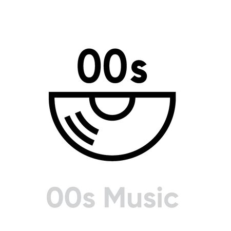Music 00s Vinyl icon. Editable line vector. 写真素材 - 143431888
