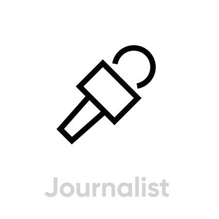Journalist microphone icon. Editable line vector. 写真素材 - 143431893