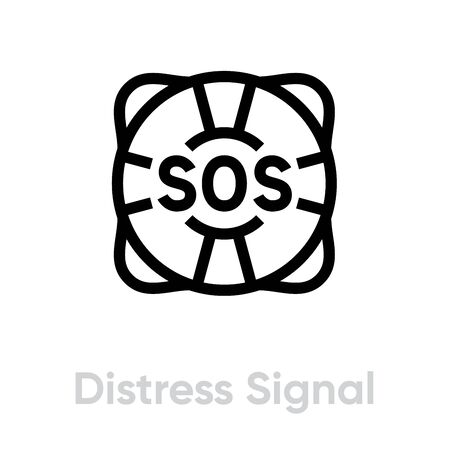 Distress signal lifebuoy help icon. Editable line vector. Round bunk with sections and text SOS. Single pictogram.